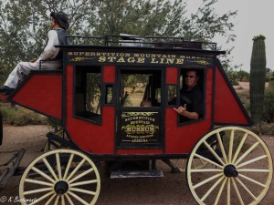 Patrick taking a ride in the stagecoach...
