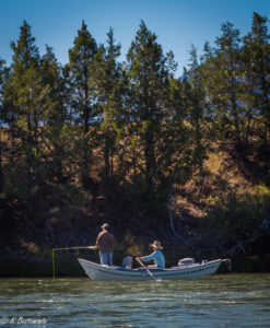 Pat with a fishing guide floating down the Yellowstone river